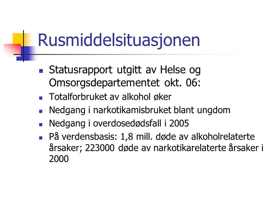 Rusmiddelsituasjonen Statusrapport utgitt av Helse og Omsorgsdepartementet okt. 06: Totalforbruket av alkohol øker Nedgang i narkotikamisbruket blant