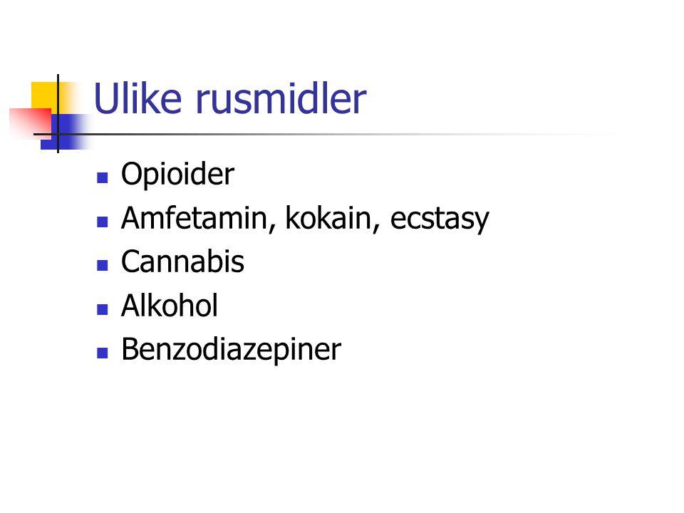 Ulike rusmidler Opioider Amfetamin, kokain, ecstasy Cannabis Alkohol Benzodiazepiner