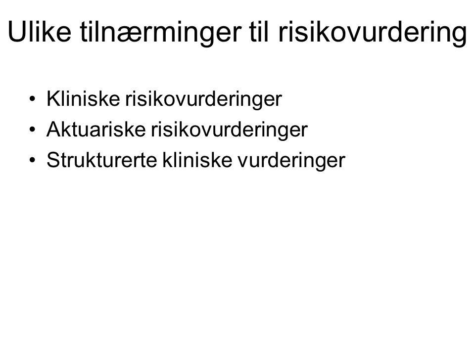 Ulike tilnærminger til risikovurdering Kliniske risikovurderinger Aktuariske risikovurderinger Strukturerte kliniske vurderinger