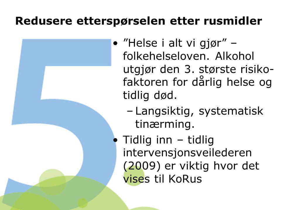 """Redusere etterspørselen etter rusmidler """"Helse i alt vi gjør"""" – folkehelseloven. Alkohol utgjør den 3. største risiko- faktoren for dårlig helse og ti"""