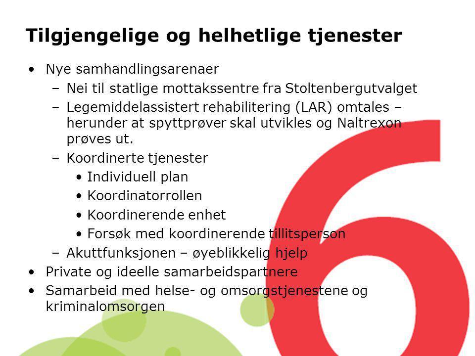 Tilgjengelige og helhetlige tjenester Nye samhandlingsarenaer –Nei til statlige mottakssentre fra Stoltenbergutvalget –Legemiddelassistert rehabiliter