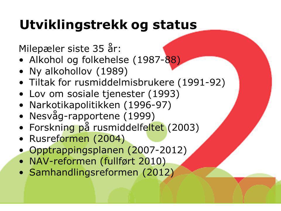 Utviklingstrekk og status Milepæler siste 35 år: Alkohol og folkehelse (1987-88) Ny alkohollov (1989) Tiltak for rusmiddelmisbrukere (1991-92) Lov om