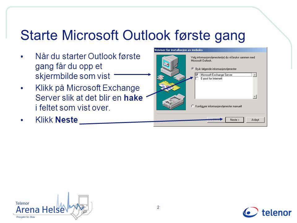 2 Starte Microsoft Outlook første gang Når du starter Outlook første gang får du opp et skjermbilde som vist Klikk på Microsoft Exchange Server slik at det blir en hake i feltet som vist over.