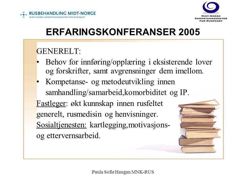 Paula Sofie Haugan MNK-RUS ERFARINGSKONFERANSER 2005 GENERELT: Behov for innføring/opplæring i eksisterende lover og forskrifter, samt avgrensninger dem imellom.