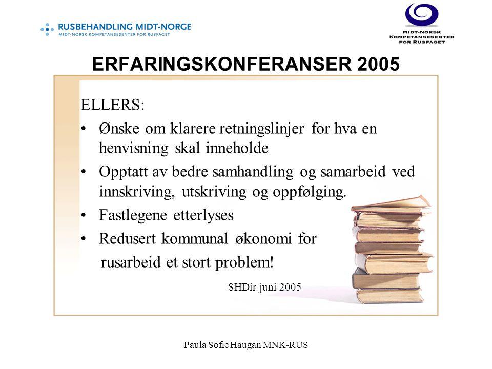 Paula Sofie Haugan MNK-RUS ERFARINGSKONFERANSER 2005 ELLERS: Ønske om klarere retningslinjer for hva en henvisning skal inneholde Opptatt av bedre samhandling og samarbeid ved innskriving, utskriving og oppfølging.