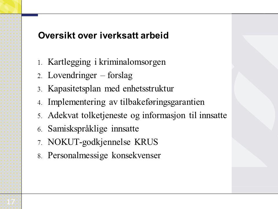 17 Oversikt over iverksatt arbeid 1.Kartlegging i kriminalomsorgen 2.