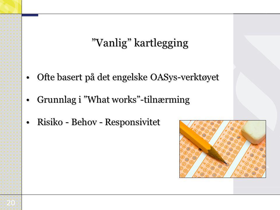 20 Vanlig kartlegging Ofte basert på det engelske OASys-verktøyet Ofte basert på det engelske OASys-verktøyet Grunnlag i What works -tilnærming Grunnlag i What works -tilnærming Risiko - Behov - Responsivitet Risiko - Behov - Responsivitet