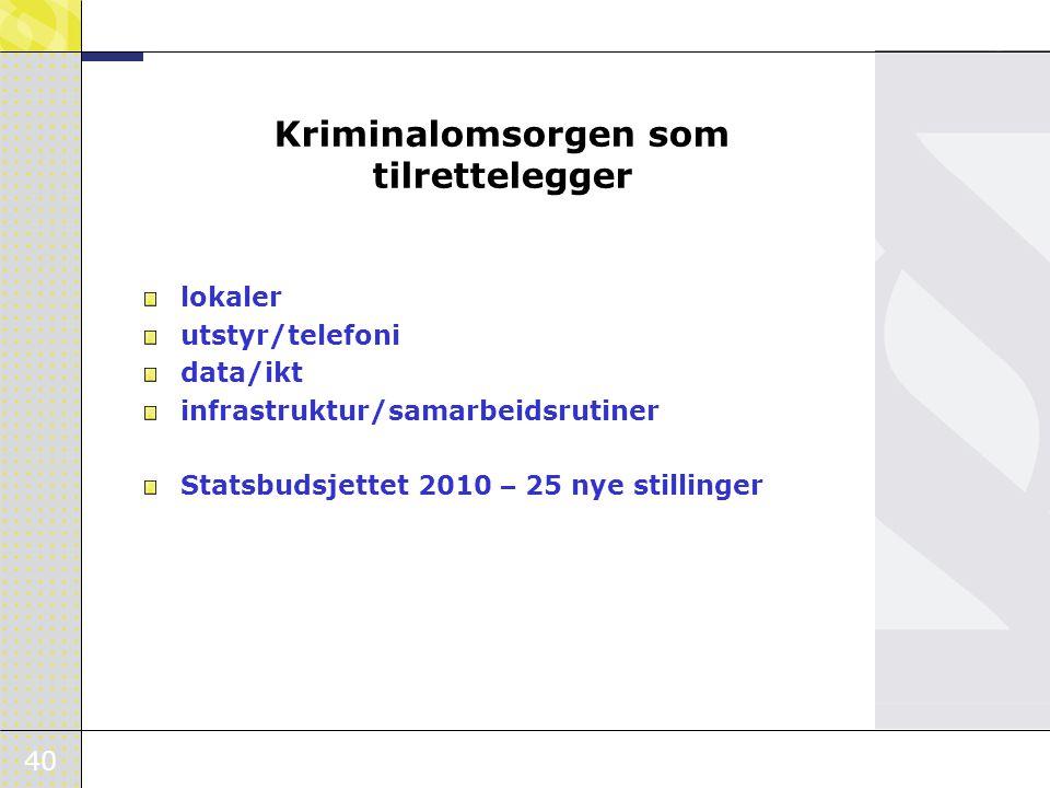 40 Kriminalomsorgen som tilrettelegger lokaler utstyr/telefoni data/ikt infrastruktur/samarbeidsrutiner Statsbudsjettet 2010 – 25 nye stillinger