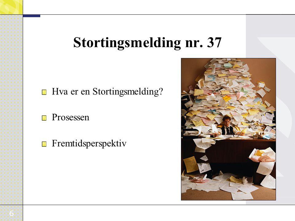 6 Stortingsmelding nr. 37 Hva er en Stortingsmelding? Prosessen Fremtidsperspektiv