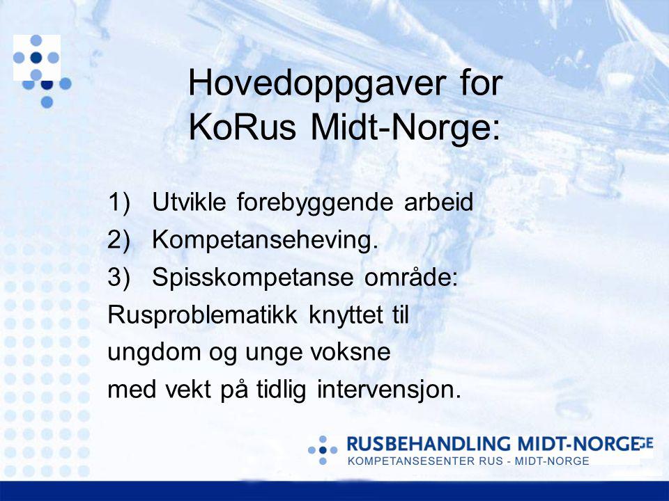 1)Utvikle forebyggende arbeid 2)Kompetanseheving. 3)Spisskompetanse område: Rusproblematikk knyttet til ungdom og unge voksne med vekt på tidlig inter