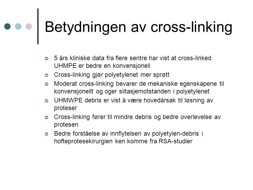 Betydningen av cross-linking 5 års kliniske data fra flere sentre har vist at cross-linked UHMPE er bedre en konvensjonell Cross-linking gjør polyetyl