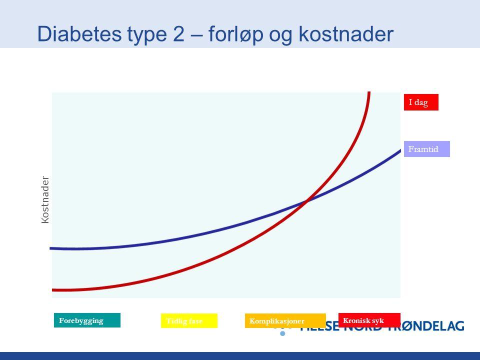 Diabetes type 2 – forløp og kostnader Framtid I dag Forebygging Tidlig fase Kostnader Kronisk syk Komplikasjoner Tid