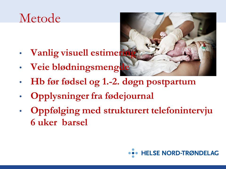 Metode Datainnsamling fra 1. april 2009 Pågå våren og sommeren 2009 I alt 300 kvinner som føder vaginal inviteres til å delta