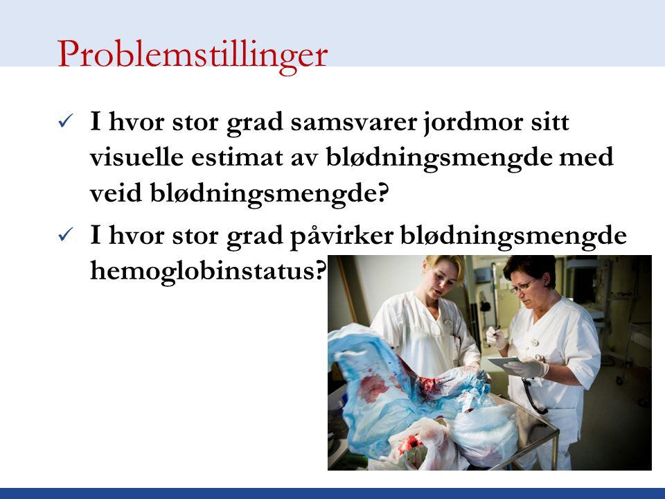 Hensikt Bidra til mer kunnskap om blødning og estimering av blødning ved fødsel Kvalitetssikring av prosedyrer på føde- og barselavdelingen Bedre føds