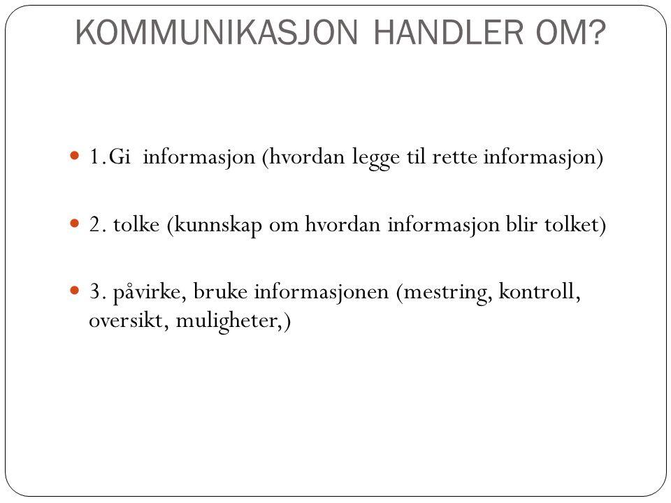KOMMUNIKASJON HANDLER OM.1.Gi informasjon (hvordan legge til rette informasjon) 2.