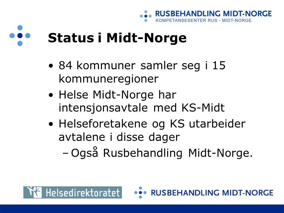 Status i Midt-Norge 84 kommuner samler seg i 15 kommuneregioner Helse Midt-Norge har intensjonsavtale med KS-Midt Helseforetakene og KS utarbeider avtalene i disse dager –Også Rusbehandling Midt-Norge.
