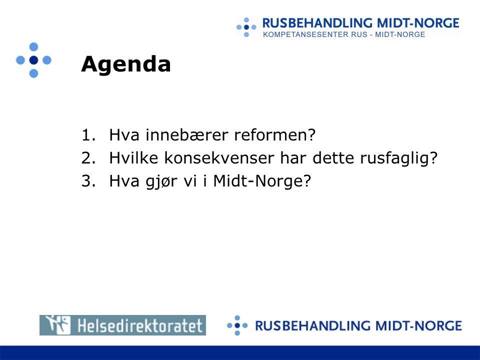 Agenda 1.Hva innebærer reformen.2.Hvilke konsekvenser har dette rusfaglig.