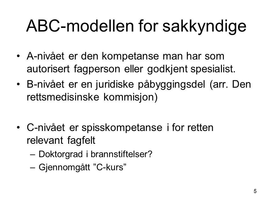 5 ABC-modellen for sakkyndige A-nivået er den kompetanse man har som autorisert fagperson eller godkjent spesialist. B-nivået er en juridiske påbyggin