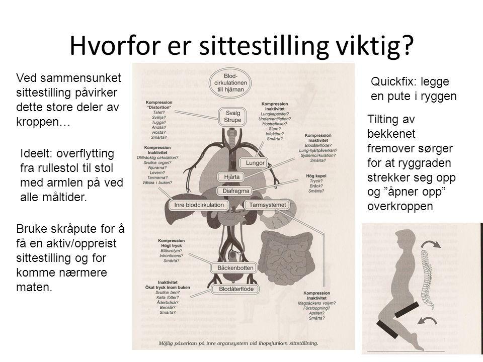 Hvorfor er sittestilling viktig? Ved sammensunket sittestilling påvirker dette store deler av kroppen… Ideelt: overflytting fra rullestol til stol med
