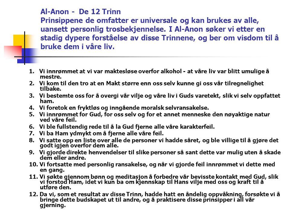 Al-Anon - De 12 Trinn Prinsippene de omfatter er universale og kan brukes av alle, uansett personlig trosbekjennelse. I Al-Anon søker vi etter en stad