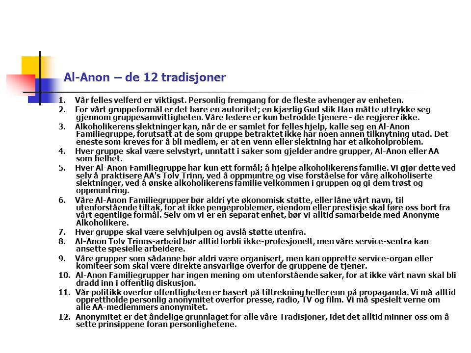 Al-Anon – de 12 tradisjoner 1. Vår felles velferd er viktigst. Personlig fremgang for de fleste avhenger av enheten. 2. For vårt gruppeformål er det b