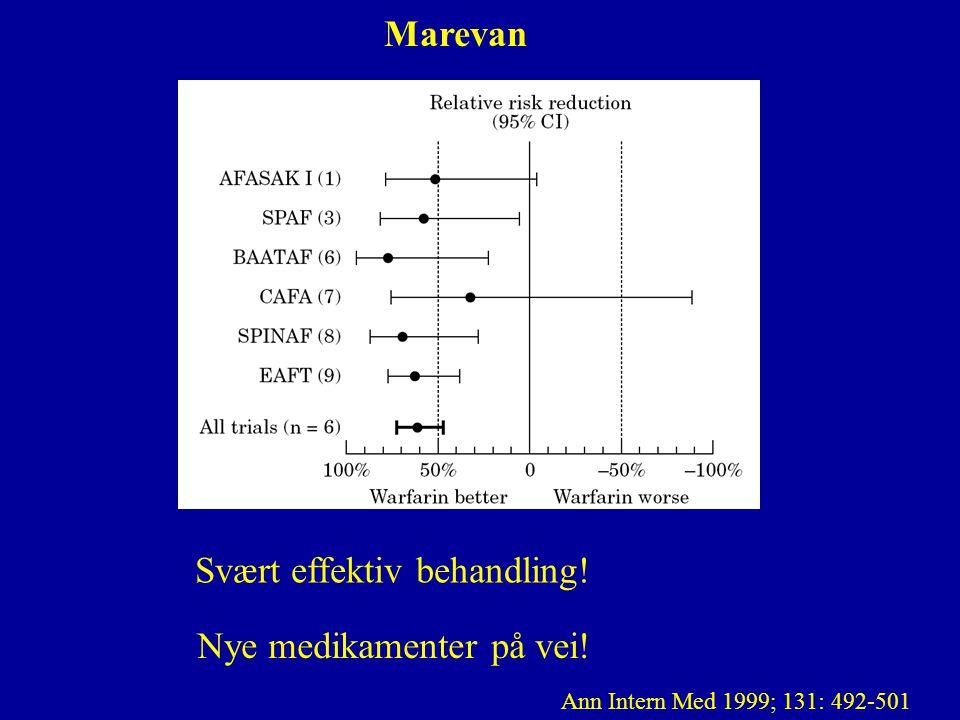 Marevan metaanalyse Svært effektiv behandling! Nye medikamenter på vei! Ann Intern Med 1999; 131: 492-501
