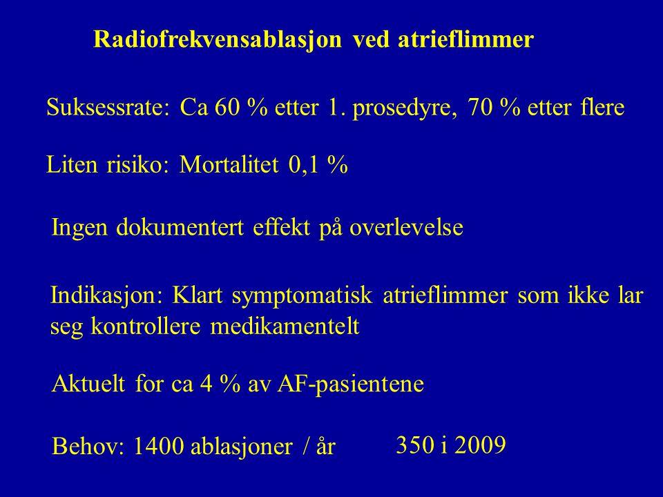 Suksessrate: Ca 60 % etter 1. prosedyre, 70 % etter flere Radiofrekvensablasjon ved atrieflimmer Liten risiko: Mortalitet 0,1 % Indikasjon: Klart symp
