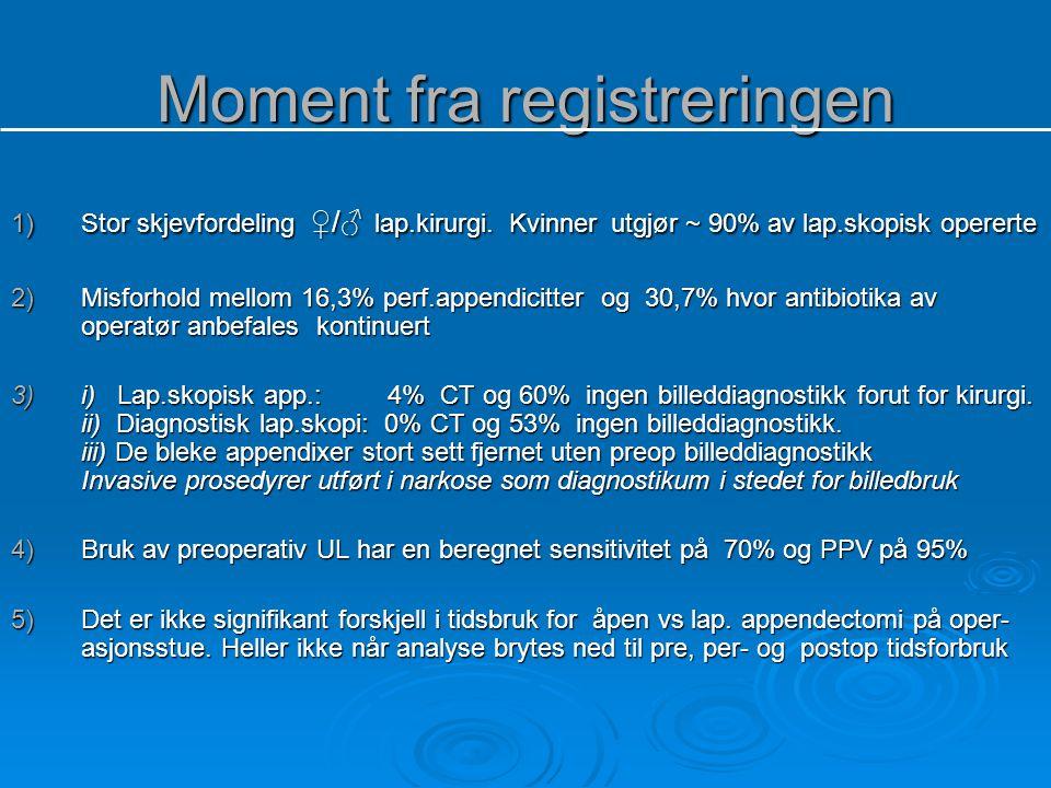Moment fra registreringen 1)Stor skjevfordeling ♀/♂ lap.kirurgi. Kvinner utgjør ~ 90% av lap.skopisk opererte 2)Misforhold mellom 16,3% perf.appendici