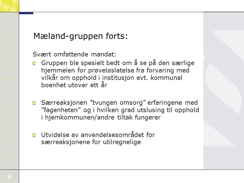 6 Mæland-gruppen forts: Svært omfattende mandat: Gruppen ble spesielt bedt om å se på den særlige hjemmelen for prøveløslatelse fra forvaring med vilkår om opphold i institusjon evt.