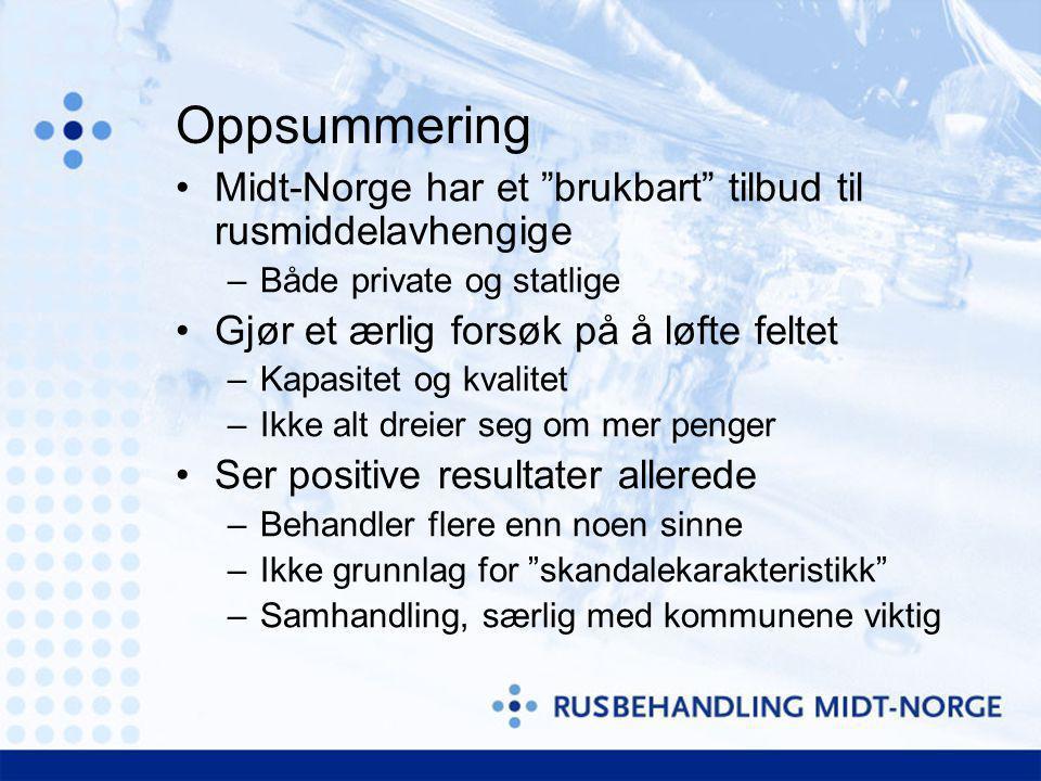 """Oppsummering Midt-Norge har et """"brukbart"""" tilbud til rusmiddelavhengige –Både private og statlige Gjør et ærlig forsøk på å løfte feltet –Kapasitet og"""