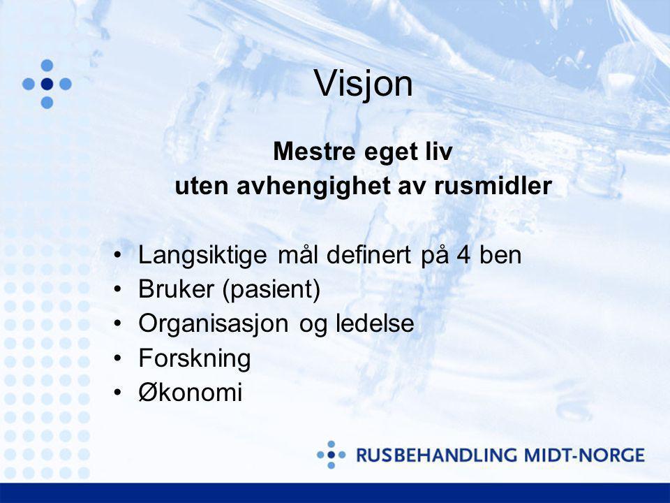 Visjon Mestre eget liv uten avhengighet av rusmidler Langsiktige mål definert på 4 ben Bruker (pasient) Organisasjon og ledelse Forskning Økonomi