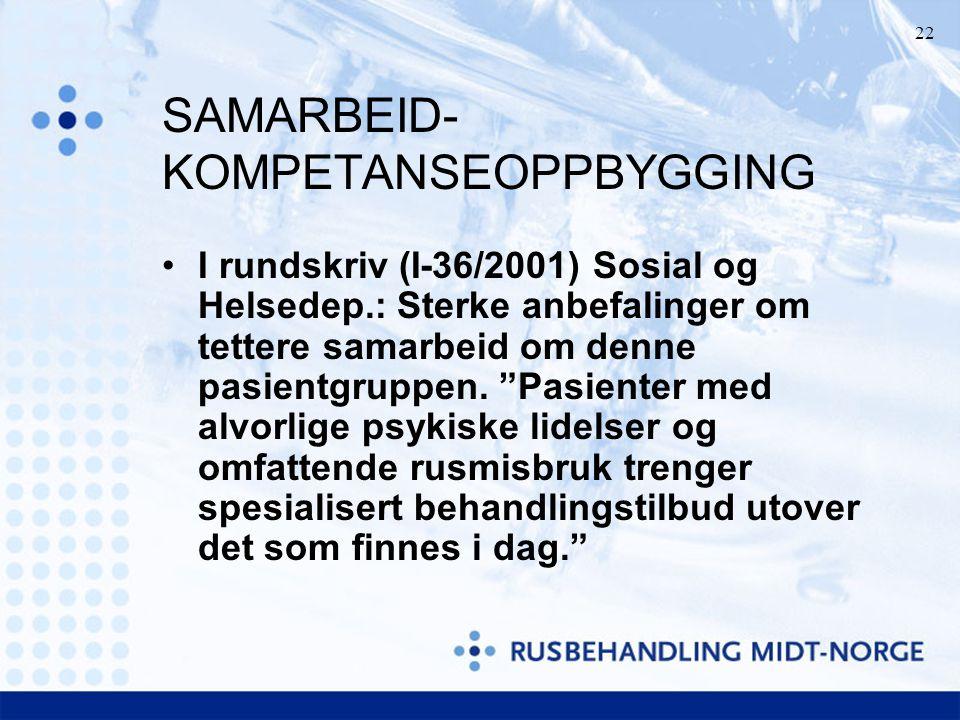 """22 SAMARBEID- KOMPETANSEOPPBYGGING I rundskriv (I-36/2001) Sosial og Helsedep.: Sterke anbefalinger om tettere samarbeid om denne pasientgruppen. """"Pas"""