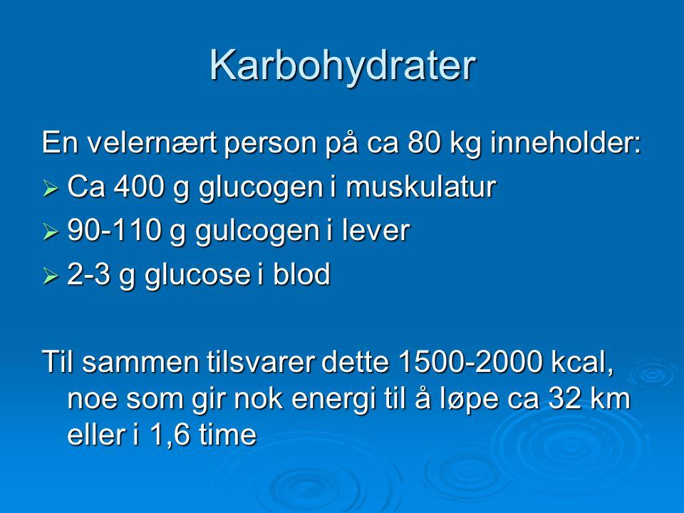 Karbohydrater En velernært person på ca 80 kg inneholder:  Ca 400 g glucogen i muskulatur  90-110 g gulcogen i lever  2-3 g glucose i blod Til samm