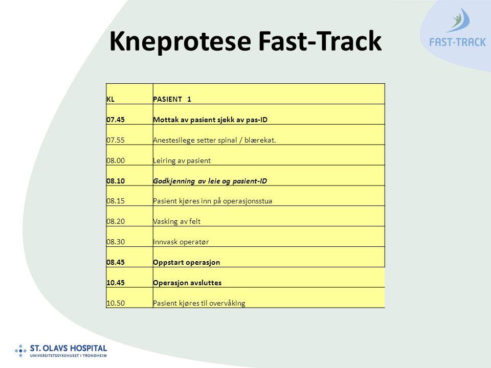 Kneprotese Fast-Track KLPASIENT 1 07.45Mottak av pasient sjekk av pas-ID 07.55Anestesilege setter spinal / blærekat. 08.00Leiring av pasient 08.10Godk