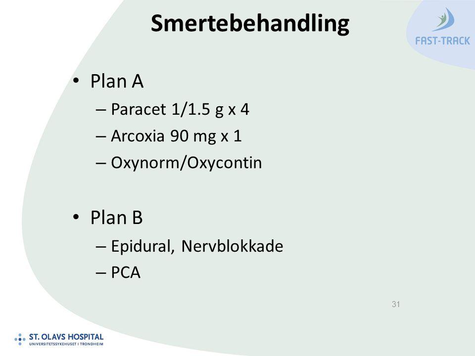 Smertebehandling Plan A – Paracet 1/1.5 g x 4 – Arcoxia 90 mg x 1 – Oxynorm/Oxycontin Plan B – Epidural, Nervblokkade – PCA 31