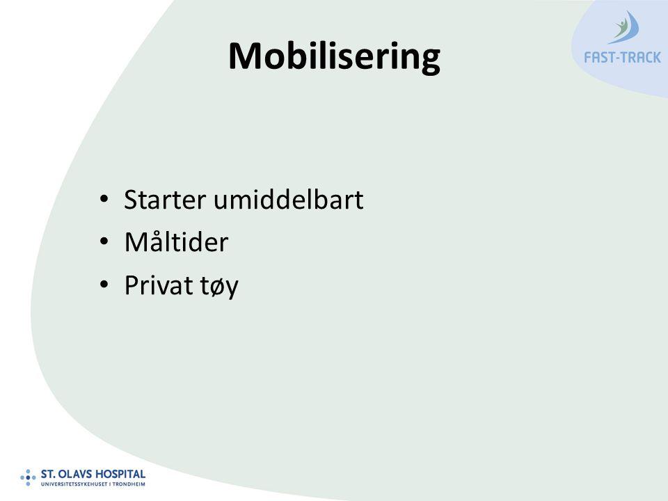 Mobilisering Starter umiddelbart Måltider Privat tøy