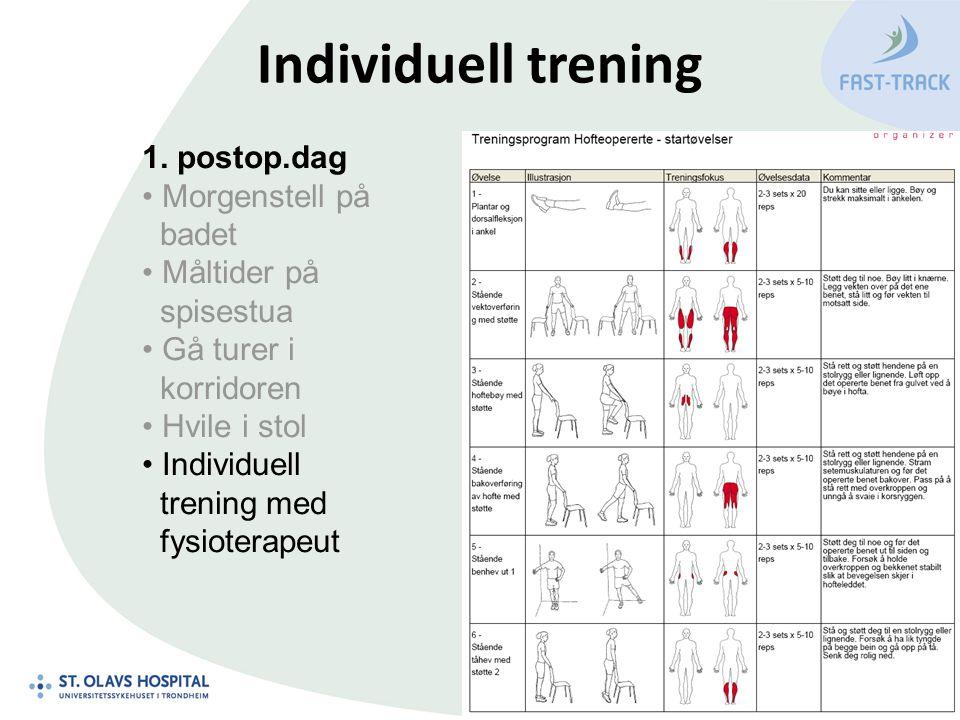 Individuell trening 1. postop.dag Morgenstell på badet Måltider på spisestua Gå turer i korridoren Hvile i stol Individuell trening med fysioterapeut