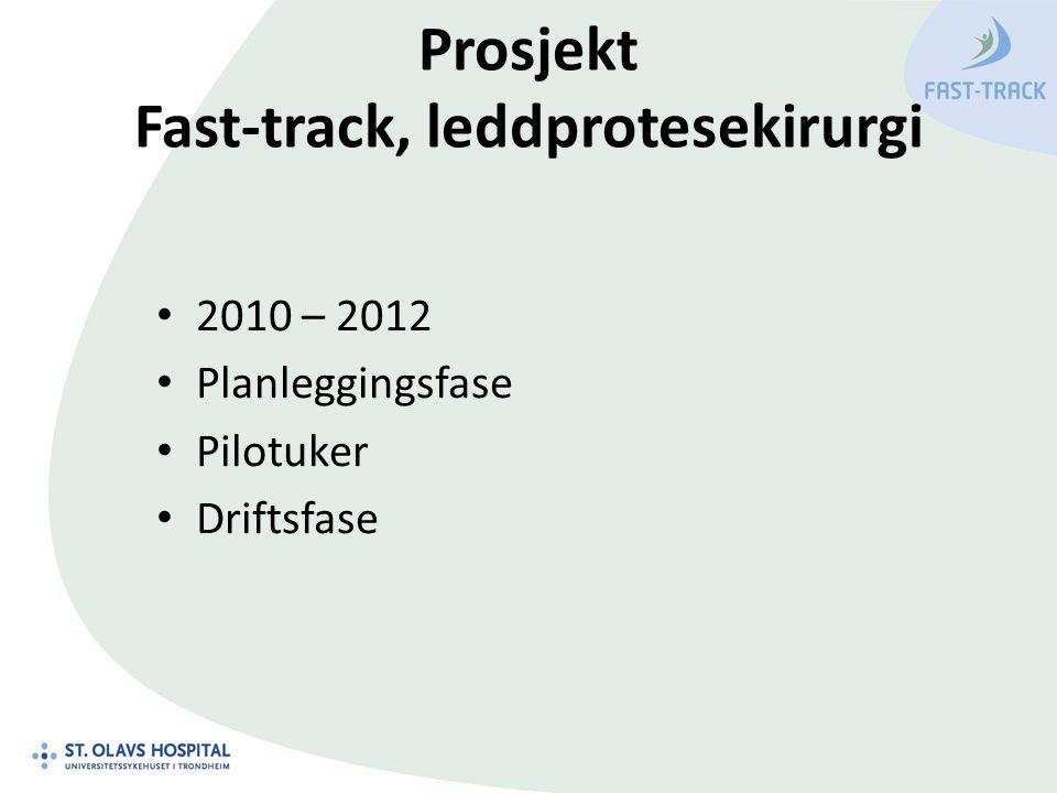 Prosjekt Fast-track, leddprotesekirurgi 2010 – 2012 Planleggingsfase Pilotuker Driftsfase