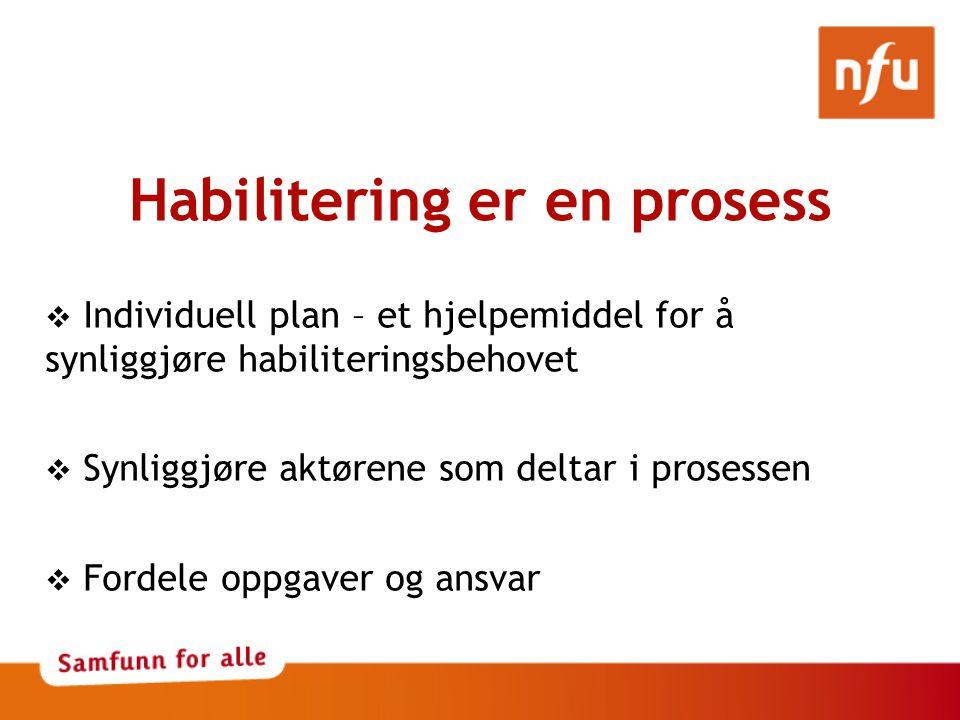 Habilitering er en prosess  Individuell plan – et hjelpemiddel for å synliggjøre habiliteringsbehovet  Synliggjøre aktørene som deltar i prosessen  Fordele oppgaver og ansvar