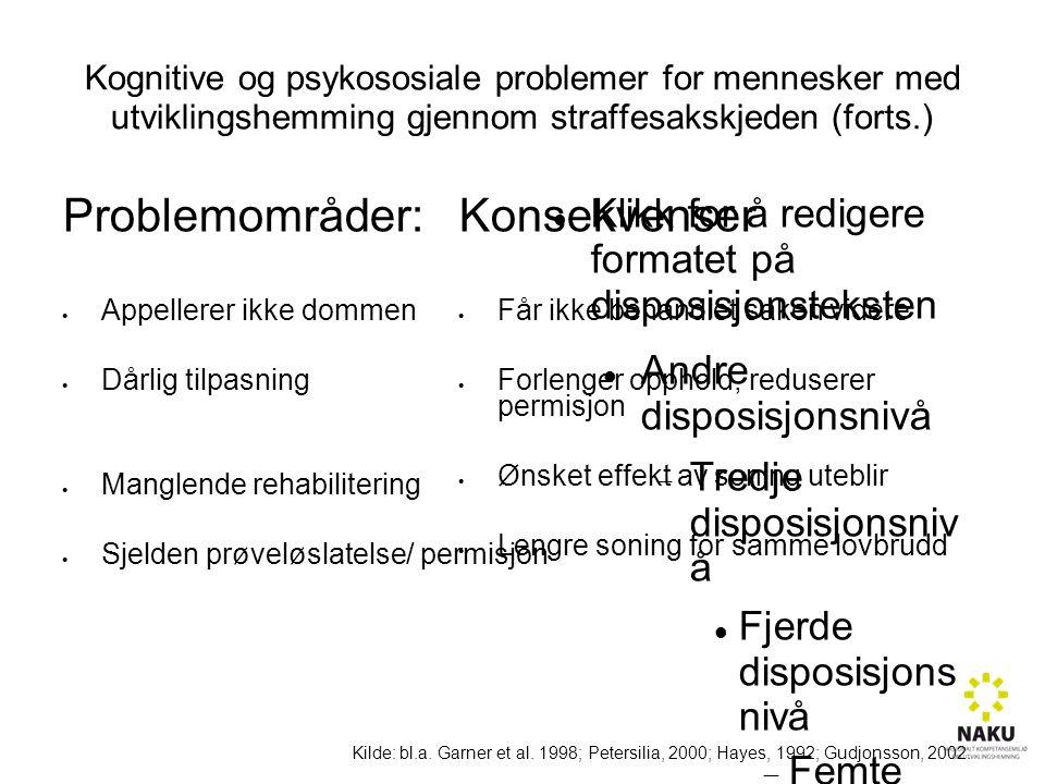 Klikk for å redigere formatet på disposisjonsteksten Andre disposisjonsnivå  Tredje disposisjonsniv å Fjerde disposisjons nivå  Femte disposisjo nsnivå  Sjette disposisjo nsnivå  Sjuende disposisjo nsnivå  Åttende disposisjo nsnivå  Niende disposisjonsnivåKlikk for å redigere tekststiler i malen  Andre nivå  Tredje nivå  Fjerde nivå » Femte nivå Kognitive og psykososiale problemer for mennesker med utviklingshemming gjennom straffesakskjeden (forts.) Problemområder:  Appellerer ikke dommen  Dårlig tilpasning  Manglende rehabilitering  Sjelden prøveløslatelse/ permisjon Konsekvenser  Får ikke behandlet saken videre  Forlenger opphold, reduserer permisjon  Ønsket effekt av soning uteblir  Lengre soning for samme lovbrudd Kilde: bl.a.