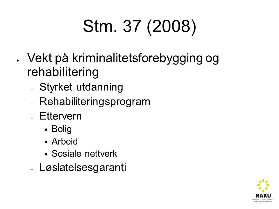 Stm. 37 (2008)  Vekt på kriminalitetsforebygging og rehabilitering  Styrket utdanning  Rehabiliteringsprogram  Ettervern  Bolig  Arbeid  Sosial
