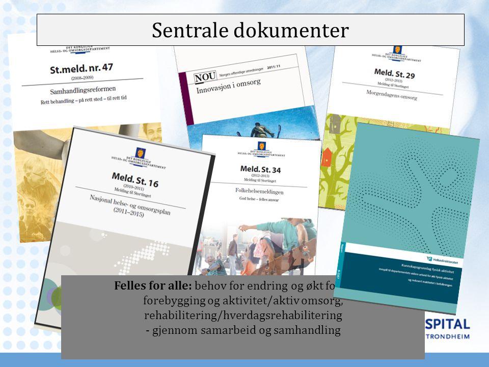 Sentrale dokumenter Felles for alle: behov for endring og økt fokus på: forebygging og aktivitet/aktiv omsorg, rehabilitering/hverdagsrehabilitering -