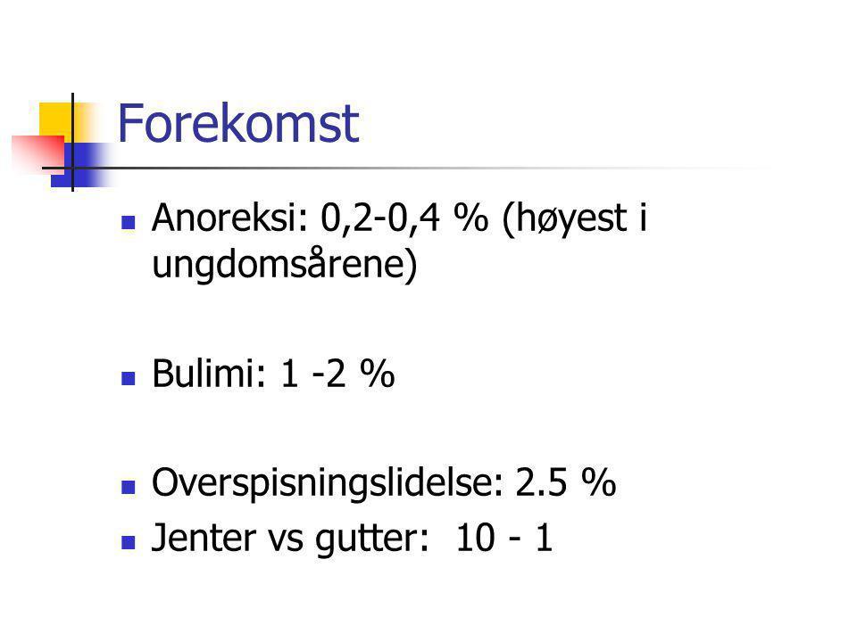 Forekomst Anoreksi: 0,2-0,4 % (høyest i ungdomsårene) Bulimi: 1 -2 % Overspisningslidelse: 2.5 % Jenter vs gutter: 10 - 1
