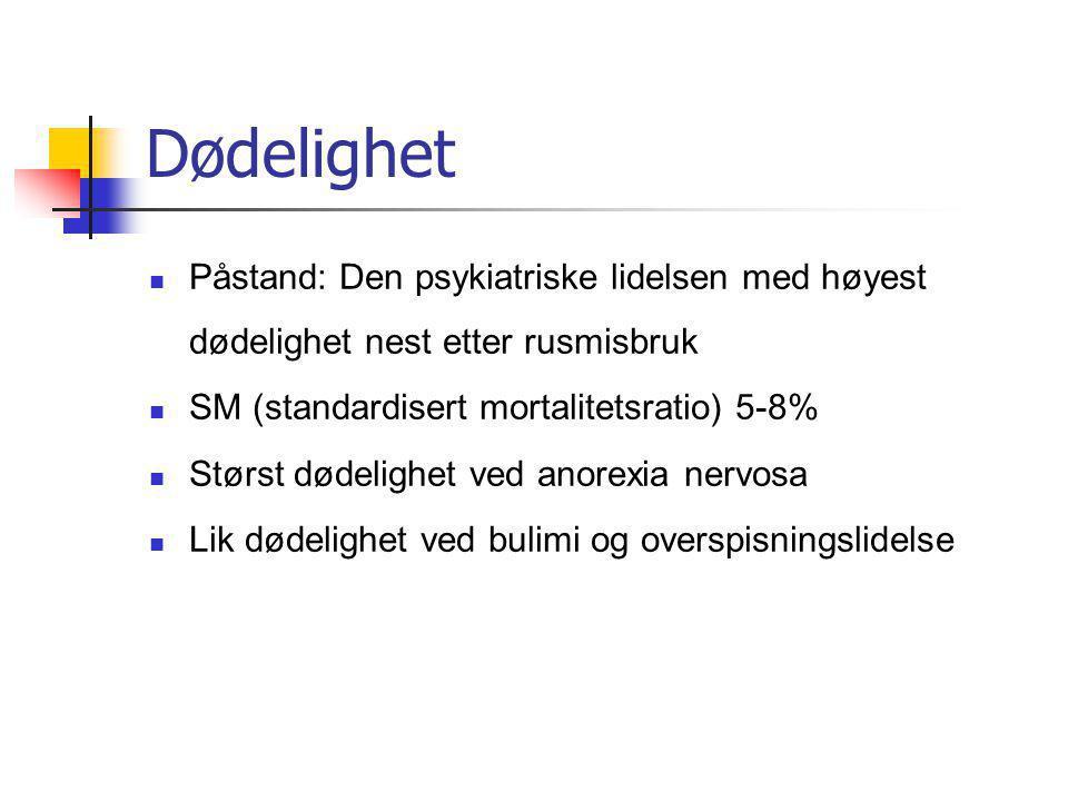 Dødelighet Påstand: Den psykiatriske lidelsen med høyest dødelighet nest etter rusmisbruk SM (standardisert mortalitetsratio) 5-8% Størst dødelighet v