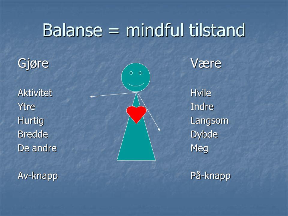 Balanse = mindful tilstand GjøreVære AktivitetHvile YtreIndre HurtigLangsom BreddeDybde De andreMeg Av-knappPå-knapp
