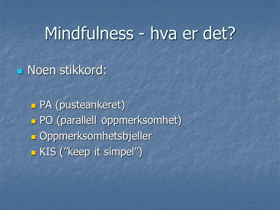 Mindfulness - hva er det? Noen stikkord: Noen stikkord: PA (pusteankeret) PA (pusteankeret) PO (parallell oppmerksomhet) PO (parallell oppmerksomhet)