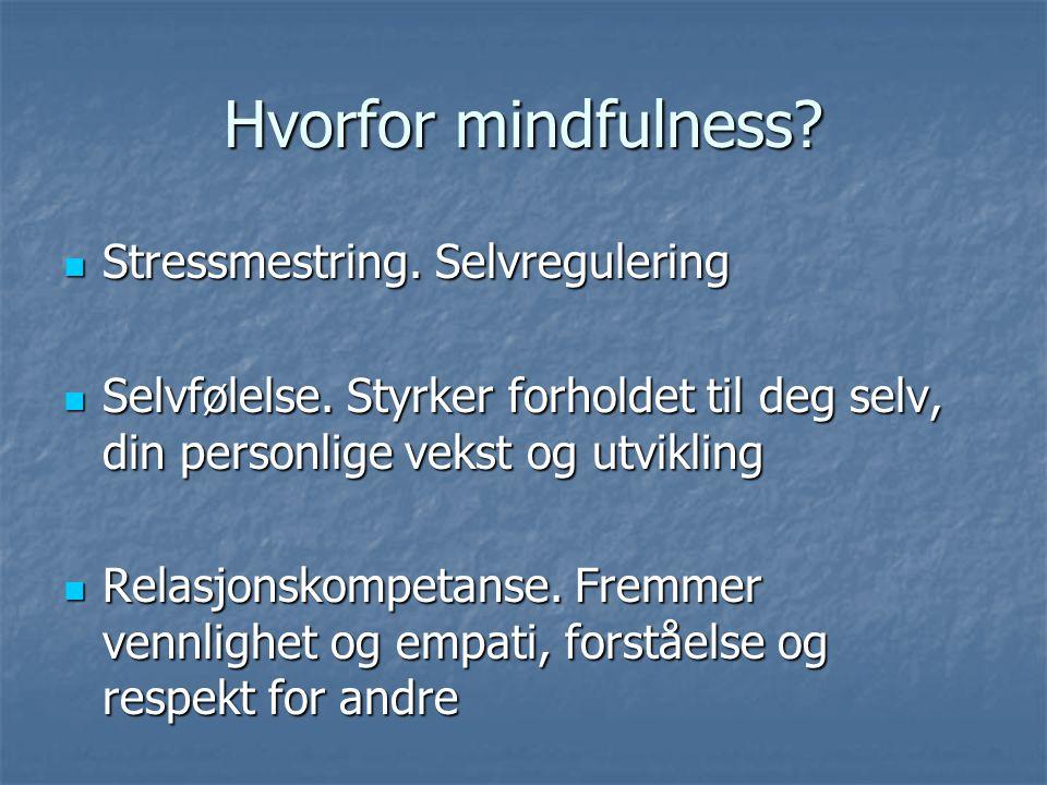 Hvorfor mindfulness? Stressmestring. Selvregulering Stressmestring. Selvregulering Selvfølelse. Styrker forholdet til deg selv, din personlige vekst o