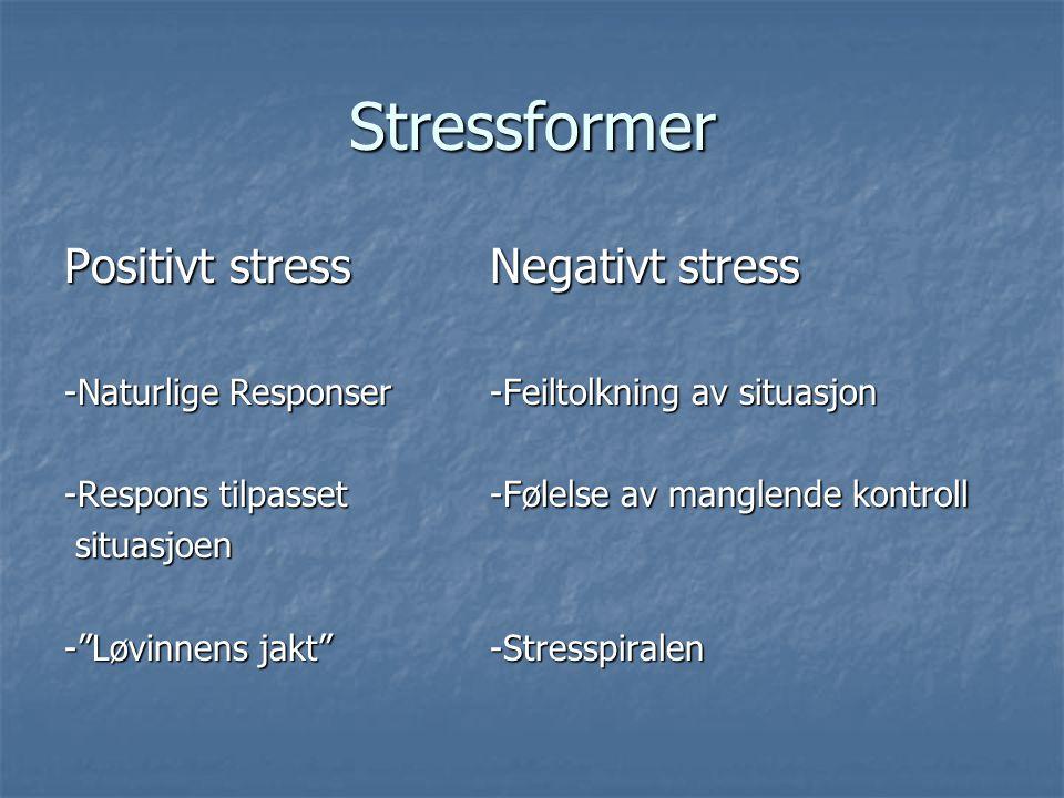 Stressformer Positivt stressNegativt stress -Naturlige Responser-Feiltolkning av situasjon -Respons tilpasset -Følelse av manglende kontroll situasjoe