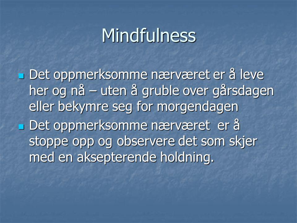 Mindfulness Det oppmerksomme nærværet er å leve her og nå – uten å gruble over gårsdagen eller bekymre seg for morgendagen Det oppmerksomme nærværet e