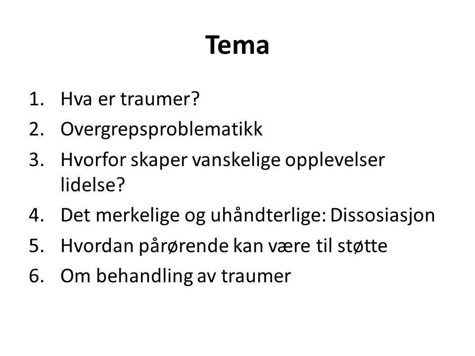 Tema 1.Hva er traumer? 2.Overgrepsproblematikk 3.Hvorfor skaper vanskelige opplevelser lidelse? 4.Det merkelige og uhåndterlige: Dissosiasjon 5.Hvorda